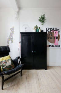 Anne Mette Skodbor, Copenhagen home, black wardrobe in bedroom | Remodelista