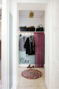 Anne Mette Skodbor, Copenhagen home, Sheer curtain hung over closet | Remodelista