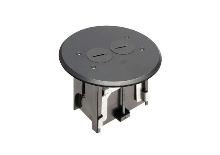 Arlington Adjustable Round Floor Box Kit with Outlets and Black Plate Cover
