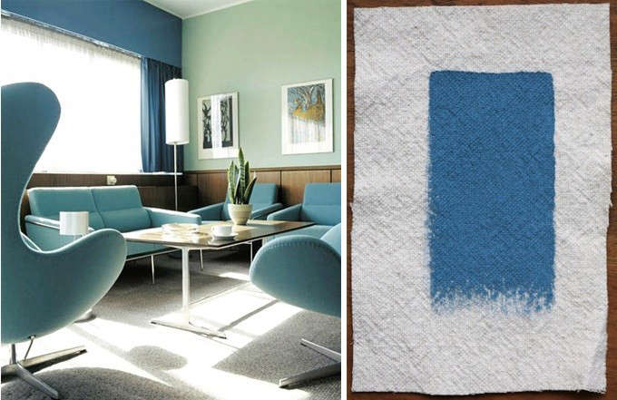 Palettes paints arne jacobsen 39 s copenhagen blues for Farrow and ball los angeles
