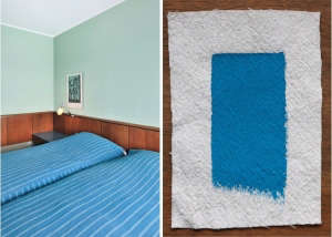 Arne Jacobsen's SAS Royal Hotel in Copenhagen Matched with Pratt & Lambert Vivid Blue, Remodelista