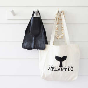 Atlantic Byron Bay, Australia, Canvas bag, Shaker pegs, Beadboard | Remodelista