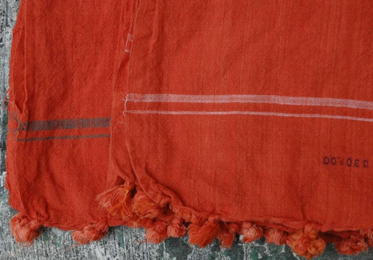Auntie Oti tassel-towel-orange-Remodelista