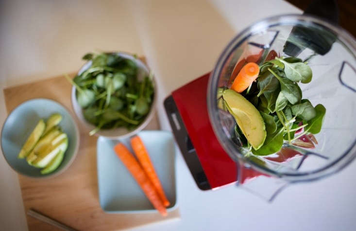 Avocados, Spinach, and Carrots in Vitamix Smoothie for Kids, Remodelista