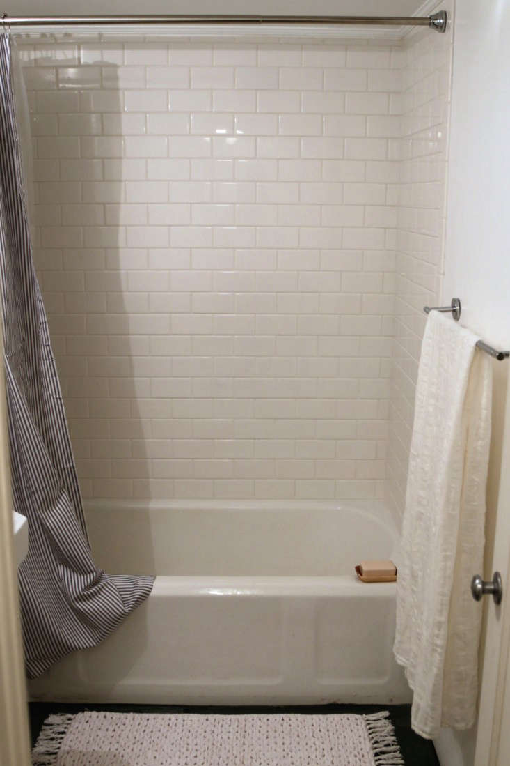 Before after the two week bath remodel for less than for How to put down tile in bathroom