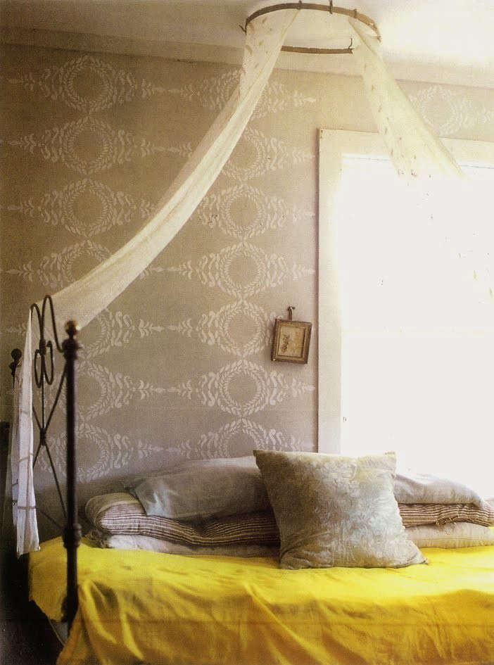 Bedroom with Yellow Blanket and Cream and Ivory Pillows and Wallpaper, Remodelista