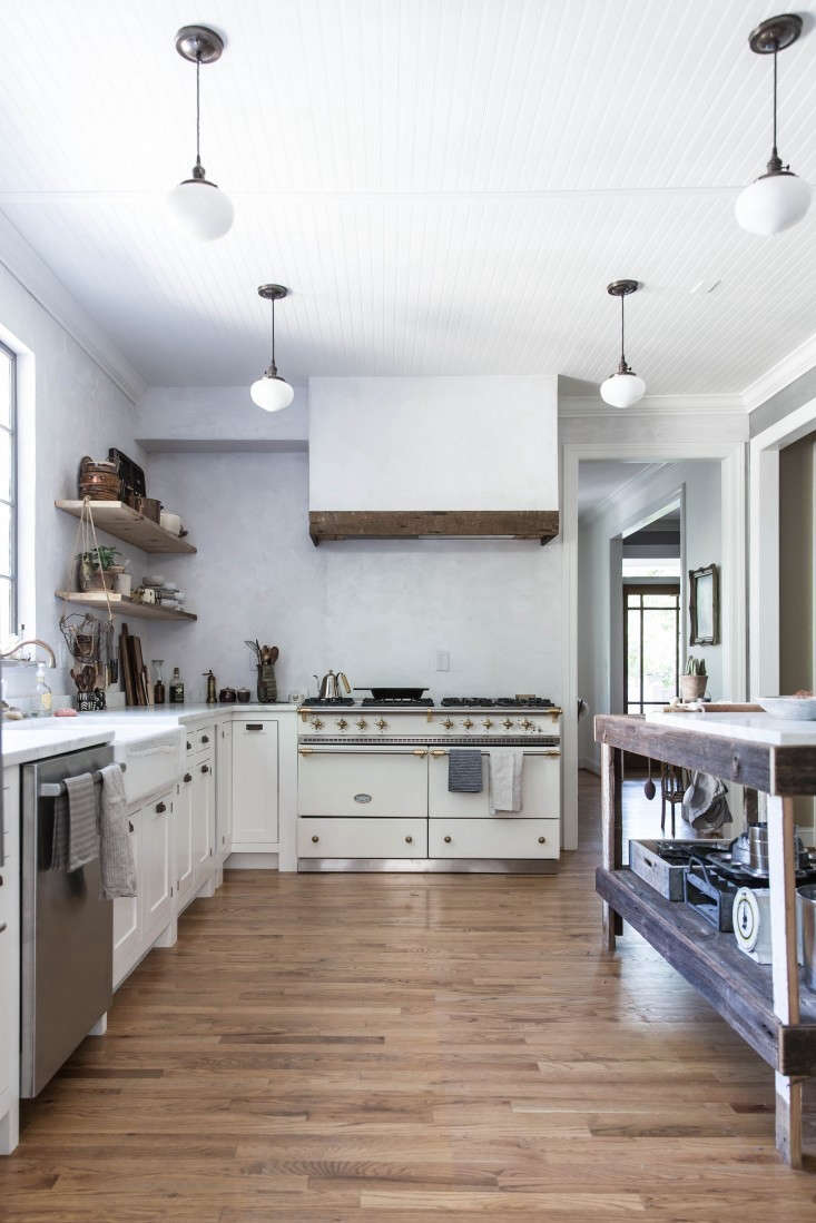 In stylist and photographer Beth Kirby's kitchen, Jersey Ice Cream Co. literally topped offtheir contemporary country feel with a beadboard ceiling. (See:The One-Month Makeover: Beth Kirby's Star-Is-Born Kitchen.)Photograph by Beth Kirby.