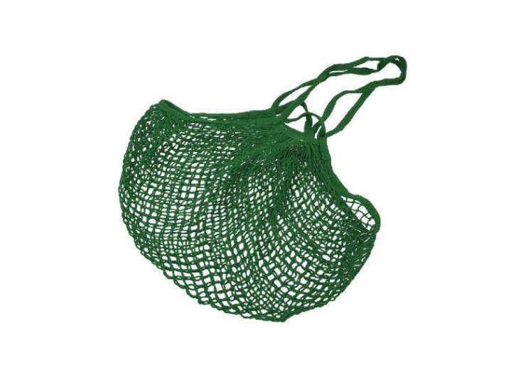 Cotton net shopping bag in kelly green with dual handles