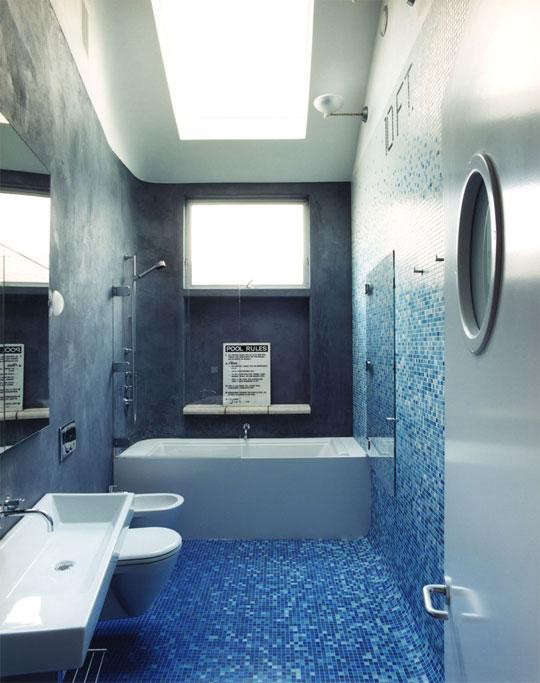 Blue Bath in Clipper Street Residence by Envelope AD_Remodelista