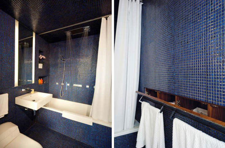 Blue Tiled Bath in Transformer Loft by Studio Garneau_Remodelista