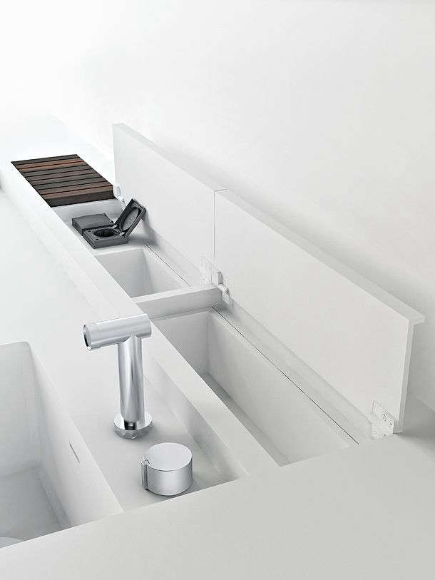 a piero lissoni–designed kitchen from boffi has a clever compartment for wash 13