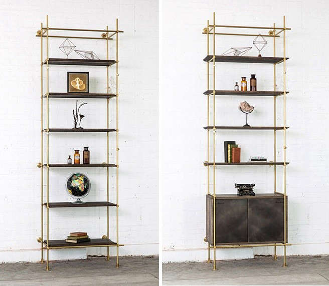 Brass-and-oak-collectors-shelving-system-from-amuneal-Remodelista