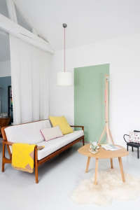 Caroline Gomez, Pastels and Colors in Bordeaux House, Living Area with painted pastel green rectangle | Remodelista
