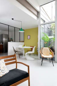 Caroline Gomez, Pastels and Colors in Bordeaux House, Dining Area with Yellow Wall | Remodelista