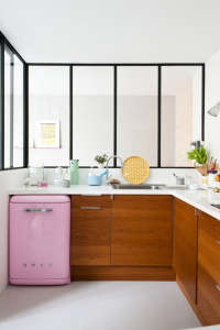 Caroline Gomez, Pastels and Colors in Bordeaux House, Pink Smeg in Kitchen | Remodelista