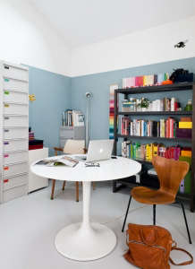 Caroline Gomez, Pastels and Colors in Bordeaux House, Studio Office, Light Blue Paint  | Remodelista