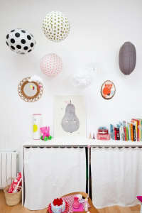 Caroline Gomez, Pastels and Colors in Bordeaux House, Cluster of Paper Lanterns | Remodelista