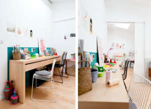 Caroline Gomez, Pastels and Colors in Bordeaux House, desk area defined by green paint on wall | Remodelista