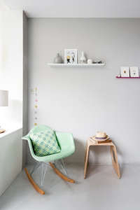 Caroline Gomez, Pastels and Colors in Bordeaux House, mint green chair, pale gray walls | Remodelista