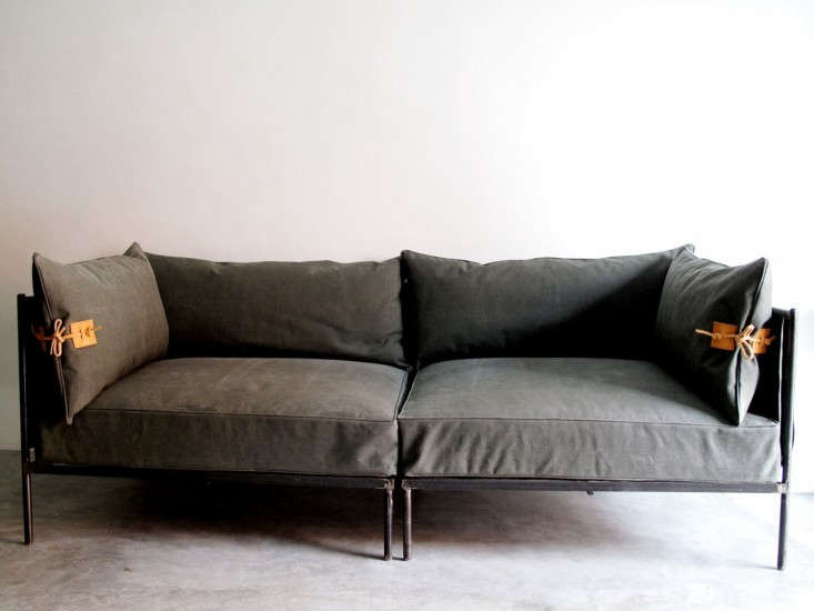 Indoor outdoor furniture made from salvaged waxed canvas remodelista - Maison sofa altamura ...