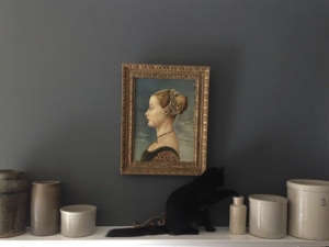 Carl, Izabella's Cat Playing on her Living Room Mantel, Remodelista