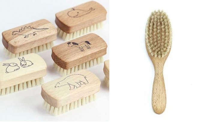 Child's wood nail brush with animals and wood hair brush for kids, Remodelista
