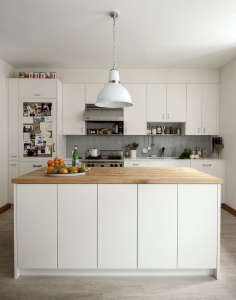 Kitchen Island Cabinets with Invisible Touch Latch Hardware, Remodelista