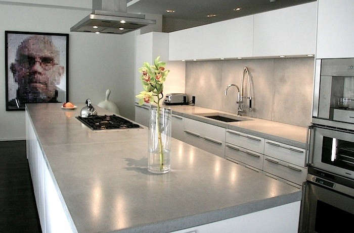 Polished Concrete Countertops In Modern Kitchen