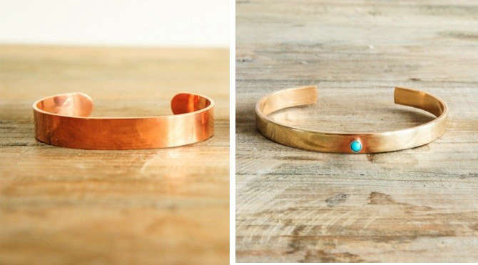 Copper Cuff Bracelet and Turquoise Bracelet from Spartan, Remodelista
