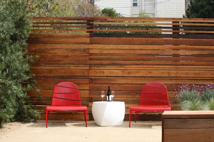Creo Landscape Red Chairs with Table Outdoors Gardenista