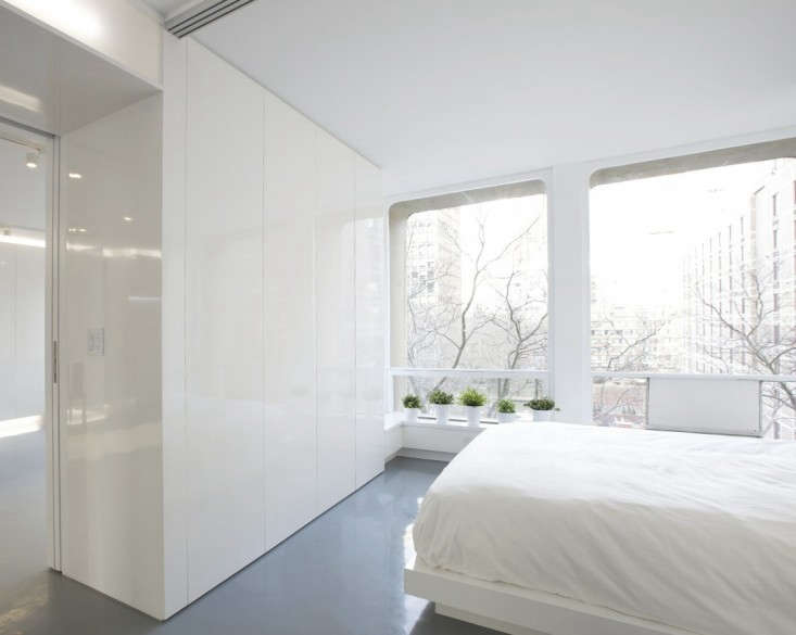 Dash Marshall Minimalist All White Bedroom in New York, Remodelista
