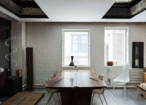 David Ling Architect, Live/Work sudio in New York, Mira Nakashima live-edge American black walnut dining table | Remodelista