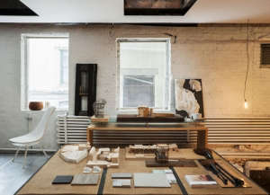 David Ling Architect, Live/Work sudio in New York, architectural models on tatami mat table | Remodelista