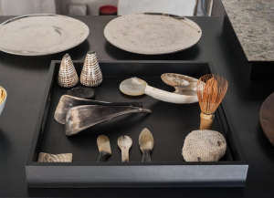 David Ling Architect, Live/Work sudio in New York, collection of shells and horn utensils | Remodelista