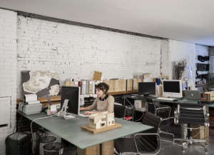 David Ling Architect, Live/Work sudio in New York, white painted brick wall, architectural model | Remodelista