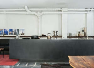 David Ling Architect, Live/Work sudio in New York, black cement kitchen counter | Remodelista