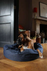 Denim Dog Bed by Bone and Rag | Remodelista