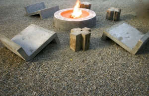 A homemade concrete fire pit and furniture at the Drift San Jose hotel in Baja, Mexico | Remodelista