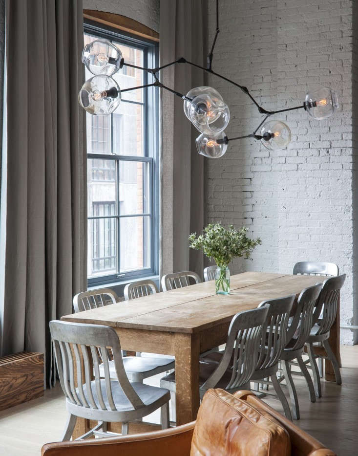 Dumbo-loft-Robertson-Pasanella-dining-table-Lindsey-Adelman-light-Remodelista