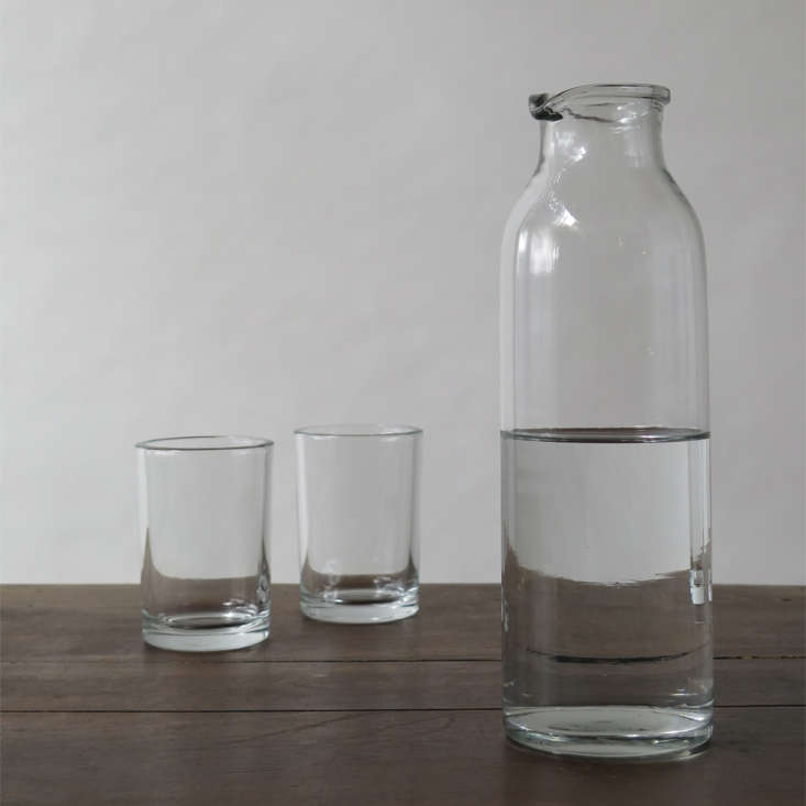 Erica-Tanov-glass-carafe-and-tumblers-Remodelista