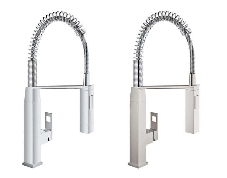 above the eurocube kitchen faucet comes in two finishes supersteel infinity and starlight chrome - Grohe Kitchen Faucets