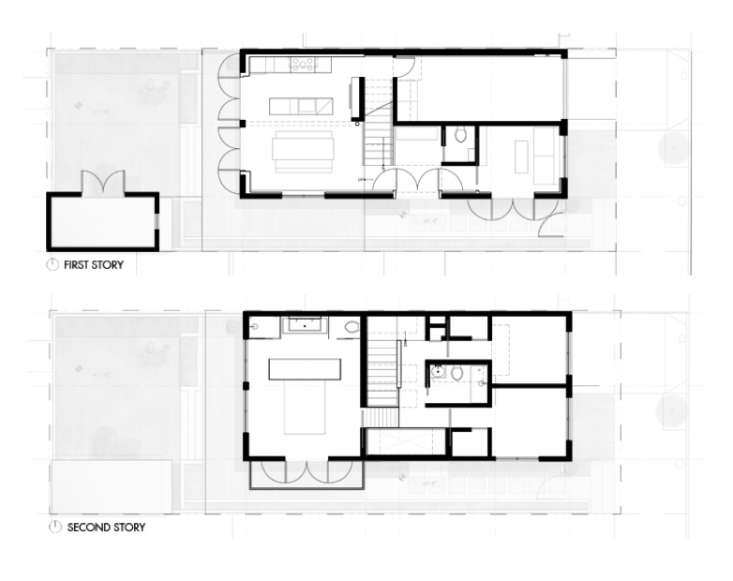 """Floor plans detail Curtiss's """"make every inch count"""" approach to the remodel."""