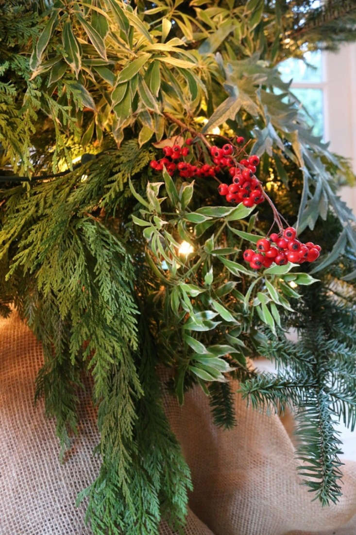 Foraged Christmas Tree with Red Berries and Pine, Remodelista