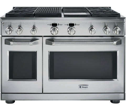 GE Monogram 48%22 professional range with four gas burners, grill and griddle, Remodelista
