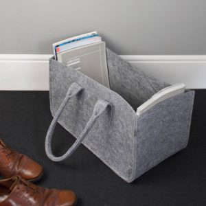 Gift Guide Storage and Organization 2013, Gray felt magazine basket | Remodelista