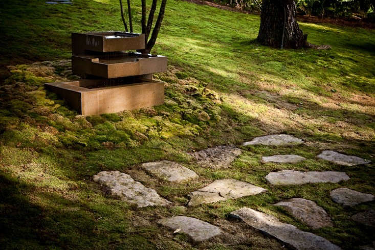 Gunn Landscape Architecture 9 Natural Lawn with Rock Walkway and Modern Fountain, Gardenista