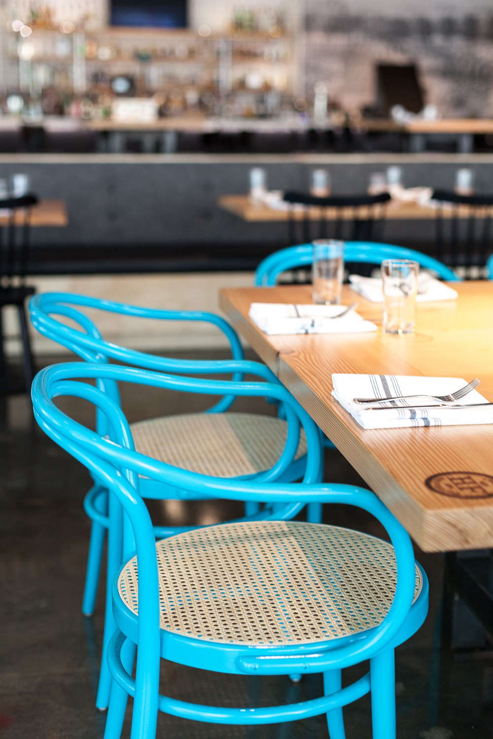 Hock Farm Restaurant with Turquoise Bentwood Chairs