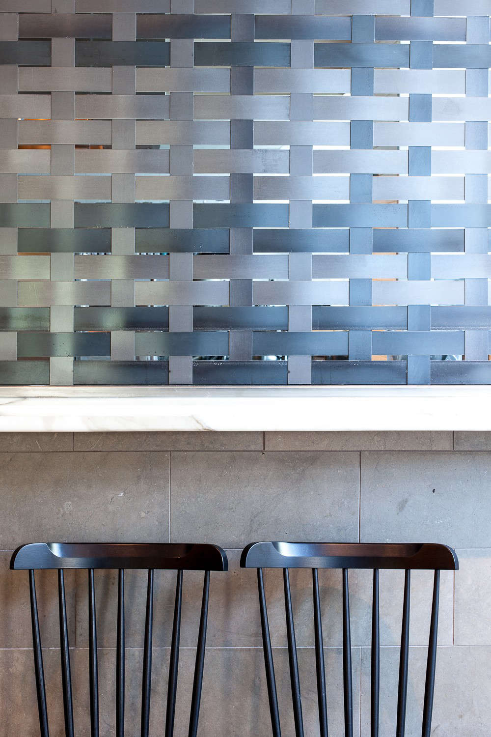 Hock Farm Restaurant with Woven Metal Detail and Black Windsor Chairs