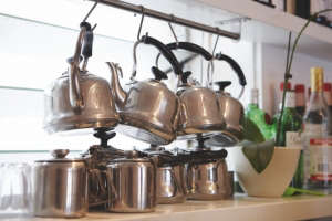 Honey & Co, London Restaurant, Metal Teapots, Photo by Patricia Niven | Remodelista