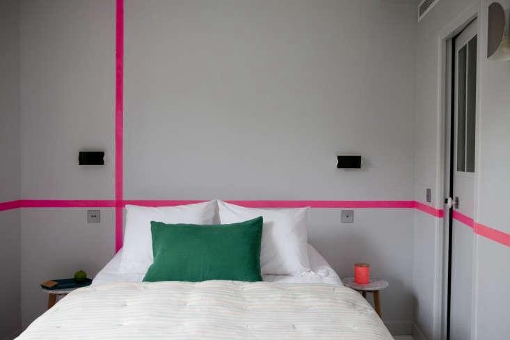 Hotel-Henriette-Paris-double-room-painted-pink-lines-Remodelista